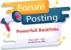 I will create manually 40 forum posting SEO backlinks link building