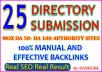 Top 25 Niche Directory Submission-Manual effective and approval SEO friendly directory submission