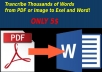 transcribe thousands of words from PDF or image to words