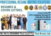 write rewrite job winning resume ,cv and cover letter