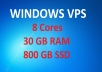 RDP Windows VPS with 800GB SSD Space and 30GB RAM