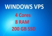 RDP Windows VPS with 200GB SSD Space and 8 RAM