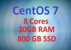 CentOS 7 VPS with 30GB RAM and 800GB SSD Space