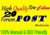 do 20 forum posting backlinks with high da pa
