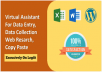 I will do data entry, lead generation, copy paste, web research and excel data entry