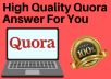 High Quality 5 Quora Answer Posting with your niche relevant Link