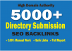 Do 5000 SEO Directory Submission Backlinks From PR1 To PR9 Wih DA-PA-TF = 100-45