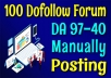 DA 97 to 40 High Authority 100 Forums Posting SEO Posts Backlinks