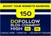 150 Blog Comment Dofollow Backlinks High DA PA google Obl Low Rank Website Traffic
