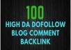 100 Blog Comment Dofollow Backlinks High Low Obl DA PA google Rank Website Traffic