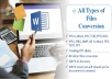 PDF to word, JPG to word, creating PPT sildes for Presentation and other files conversion