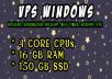 Windows VPS 16 GB RAM 4 CORE CPUs 150 GB SSD
