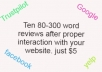 I will write 10 website reviews after analyzing