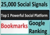 Give Top 1 Powerful Social Platform 25,000 PR9 SEO Social Signals Share Bookmarks Important Google