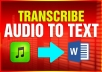 I will transcribe your audio, video files fast and accurately (Certified)
