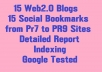 Provide 15 Web2.0 blogs with 15 Social bookmarks from PR6 to PR9 Sites Only