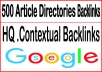 Build 500 Article Directories Backlinks