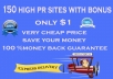 Submit your site to 150 high pr sites with bonus