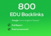 I will get 800 edu high quality SEO backlinks and rank higher with google and youtube