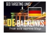 I will create 150 backlinks on german DE blog domains @@##