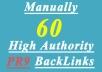 manually create 40 High AUTHORITY PR9 Backlinks Panda,Penguin Hummingbird safe