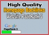 Get Homepage backlinks permanent on Website PR5