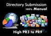 I will manually 30 plus directory submission for your websites or Blogs url