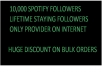 Get 10000 spotify followers for $100