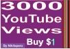 Instantly start 3000 Good retention YouTube views
