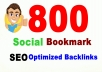 Create  800 Super HQ SEO social bookmarks high Poweful backlinks, rss, ping