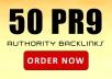 I will manually Create 50 High QUALITY PR9 Backlinks