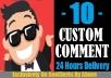 Start Instant 10 Comments Random Or Custom In Social Media Posts