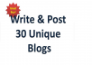 write and post 1 unique blog articles