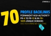 Permanent 70 High Quality PR10 to PR6 High PA,DA Backlinks
