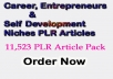 11,523 Career, Entrepreneurs & Self Development Niches PLR Articles