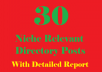 Provide 30 Niche relevant Directory Submissions