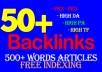 Indexing 50 PR9 backlinks with keyword related articles