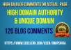 give you 120 High PA DA Unique Domain DoFollow Backlinks
