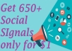 650+ High Quality Social Signals Backlink from 4 BEST Social Media website only