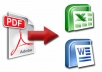 I Will Convert Any PDF To Editable Word or Excel for $2