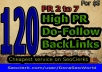 Make 120 High PA DA Dofollow backlinks from all unique domains