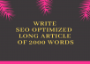 Write SEO Optimized  High-Quality Long Article of 2000 Words