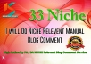 Provide 33 NICHE Relevant Blog Comment High Quality