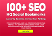 Add 100+ SEO social bookmarks high quality backlinks, rss and ping