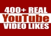 Add 400+ Real Genuine Human YouTube Video Likes