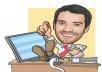 Personalised digital caricature photo hand drawn cartoon