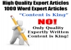 High Quality Expert Article Writer - 1000 Word Expert Articles