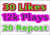 I will add 12,000 PIay,30 Likes,20 Rep0st and Some C0mments