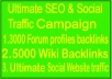 Update SEO & Social Campaigns- ​3000 From profile  Backlink- 5000 Wiki Backlink -Unlimited Social web traffic
