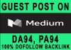 Guest post on Medium DA 93 with backlinks
